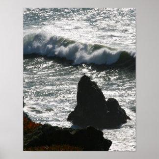 Ondas que se estrellan, bahía de San Fransisco, re Poster