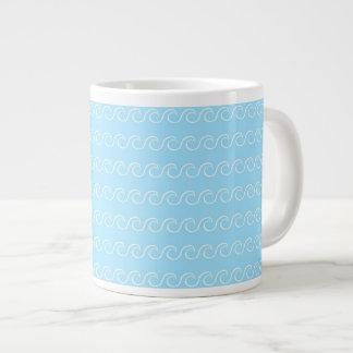Ondas simples del azul taza grande