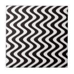 Ondas temblorosas (negro/blanco) azulejo cerámica