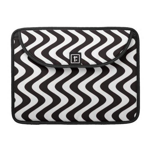 Ondas temblorosas (negro/blanco) funda para macbook pro