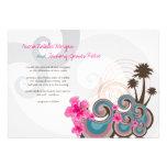 Ondas tropicales y invitación rosada del boda del