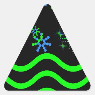 Ondas verdes azules y estrellas pegatina triangular