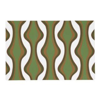 Ondas verticales verdes y marrones tapete individual