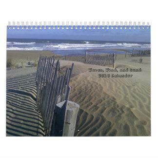 Ondas, viento, y arena Calander 2012 Calendarios De Pared