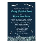 Ondas y invitaciones náuticas del boda de la comunicados personalizados