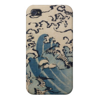 Ondas y pájaros, c.1825 (woodblock del color) iPhone 4/4S fundas