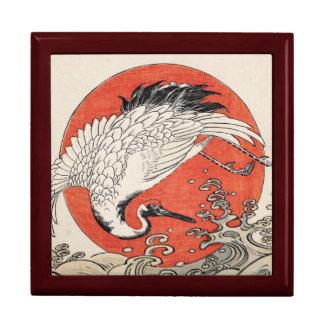 Ondas y sol naciente de la grúa de Isoda Koryusai Cajas De Joyas