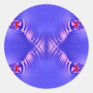 ondulación azul pegatina redonda