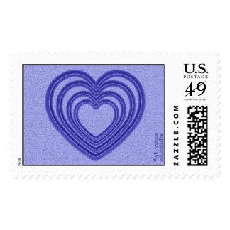Ondulación del corazón (L-Azul) Estampilla