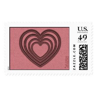 Ondulación del corazón (L-Roja) Timbre Postal
