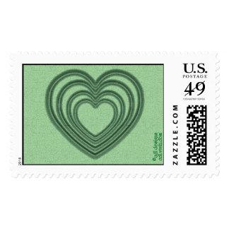 Ondulación del corazón (L-Verde) Timbres Postales