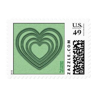 Ondulación del corazón (S-Verde) Sello
