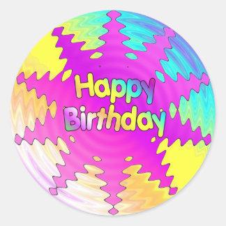 Ondulación del feliz cumpleaños pegatina redonda