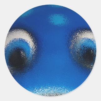 Ondulación feliz del azul de la pastinaca de los o etiquetas redondas