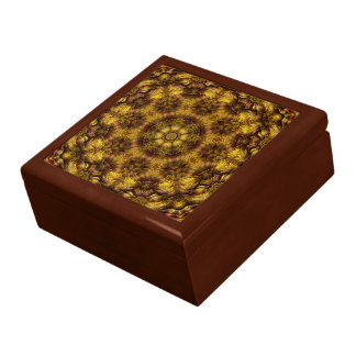 Ondulación Giftbox del aceite del oro del damasco Joyero Cuadrado Grande