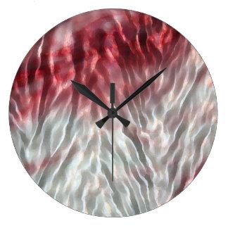 Ondulación rosada de la raspa de arenque reloj de pared