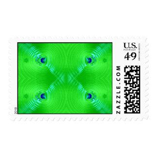 ondulación verde estampilla