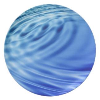 Ondulaciones apacibles del agua azul plato de comida