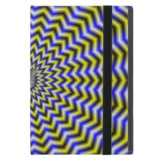 Ondulaciones azules y amarillas del zigzag + Gato iPad Mini Cobertura