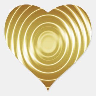 Ondulaciones de oro de la frecuencia pegatina en forma de corazón