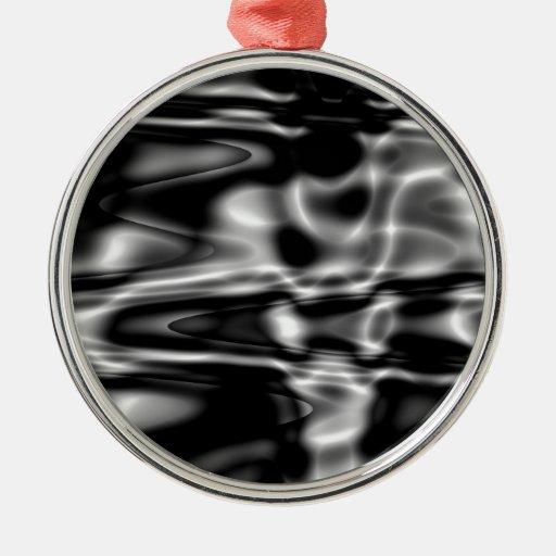 ondulaciones del agua adorno navideño redondo de metal