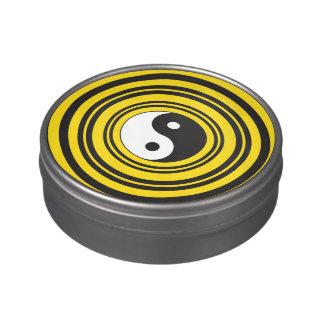 Ondulaciones del negro del amarillo del símbolo de jarrones de dulces