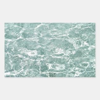 Ondulaciones en agua pegatina rectangular