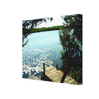 Ondulaciones en la lona envuelta lago impresión en lienzo