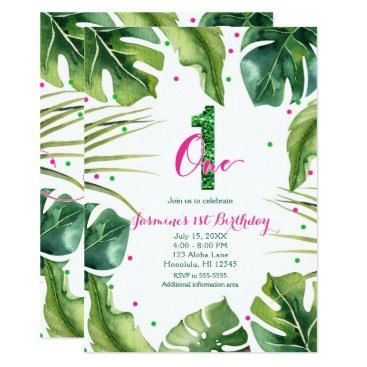Beach Themed ONE 1 1st Birthday Tropical Leaves Pink Green Card
