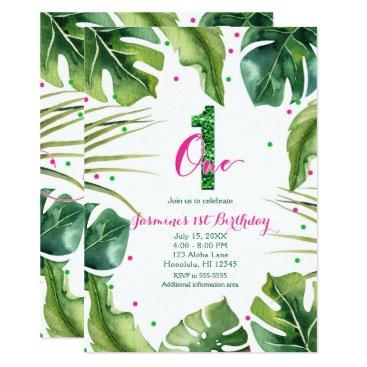 Hawaiian Themed ONE 1 1st Birthday Tropical Leaves Pink Green Card
