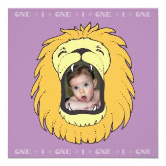 One 1 Birthday Lion Personalized Birthday Invite
