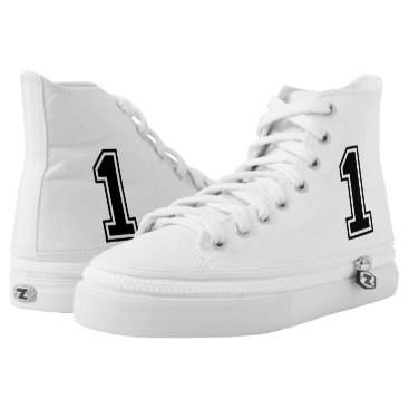 One 1 Black Sports Font High-Top Sneakers