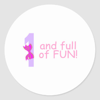 One And full Of Fun (Bow) Classic Round Sticker