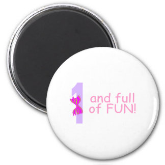 One And full Of Fun (Bow) 2 Inch Round Magnet