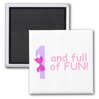 One And full Of Fun (Bow) 2 Inch Square Magnet