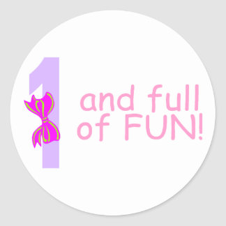 One And full Of Fun (Bow) Sticker