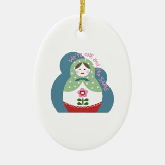 One And The Same Double-Sided Oval Ceramic Christmas Ornament