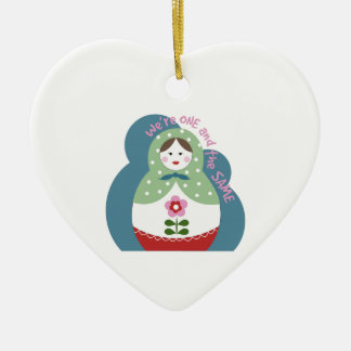 One And The Same Double-Sided Heart Ceramic Christmas Ornament