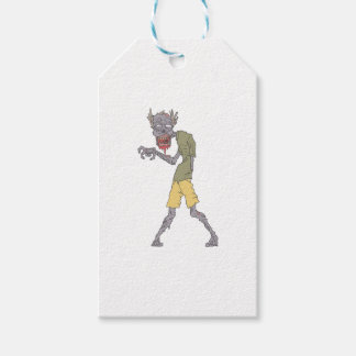 One Arm Creepy Zombie With Rotting Flesh Outlined Gift Tags