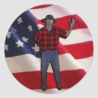 One-Armed Man Classic Round Sticker