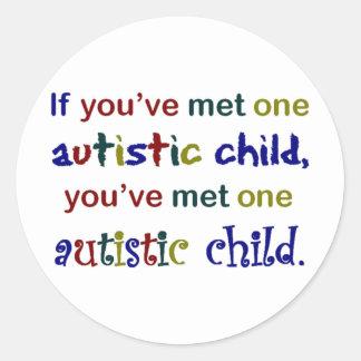 One Autistic Child Classic Round Sticker