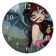 One Autumn Leaf Gothic Fairy Vampire Clock