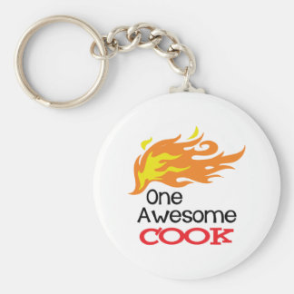 One Awesome Cook Basic Round Button Keychain