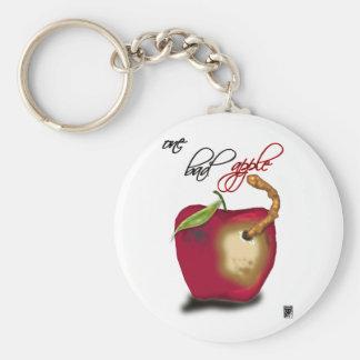 one bad apple basic round button keychain
