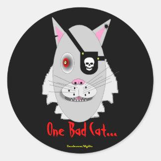 One Bad Cat Classic Round Sticker