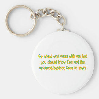 One Bad Gran Basic Round Button Keychain