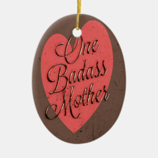 One Badass Mother Double-Sided Oval Ceramic Christmas Ornament