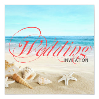 One Beautiful Day on Beach Calligraphy Wedding Card