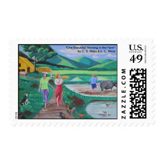 "One Beautiful Morning in the Farm ""Postage Stamp"" Postage"