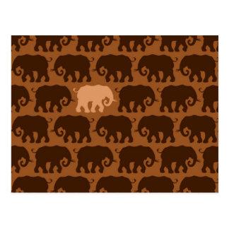 One Beige Elephant in a Brown Herd Postcard